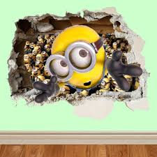 Minion Wallpaper For Bedroom Minion Minions Vinyl Wall Decal Sticker Despicable Me Peeking