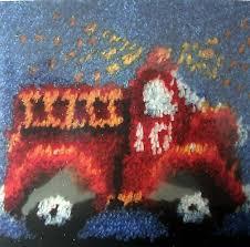 caron latch hook rug pillow kit fire engine