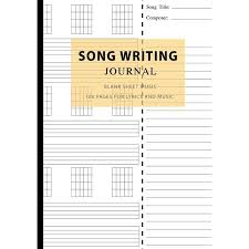 Music Writing Paper Song Writing Journal Blank Sheet Music 100 Pages For Lyrics And Music Writing Your Own Lyrics Melodies And Chords For Musicians Notebook For