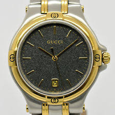 gucci 9040m. auth gucci 9040m wrist watch for men two-tone date black dial #2871 gucci 9040m u