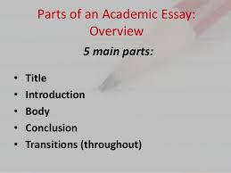 eng parts of an essay parts of an academic essay
