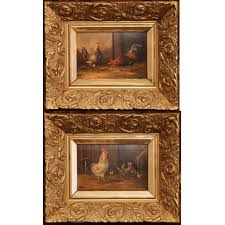 pair of 19th century french oil en paintings on board in carved frames country french interiors