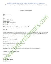 Official Documents Template Authority Letter To Pick Up Collect Official Documents Template
