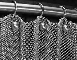 flexible mesh curtain is installed on stainless steel curtain rod
