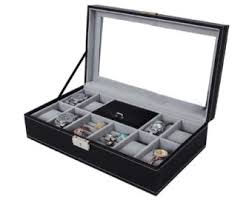 engraved watch box leather watch box black display case storage mens jewellery box personalised engrave father s gift idea
