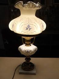 htf fenton art glass elizabeth pattern student lamp hp blue fl