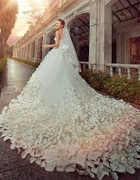 gorgeous wedding dresses sweetheart crystals cathedral train