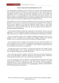Cv Opening Statement Personal Resume New Examples Top Download Doc