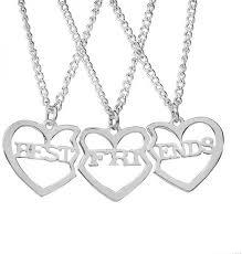 3 pcs best friends heart stitching pendant necklaces love necklace for men women fashion couple necklace set jewelry souq uae