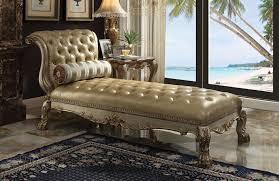 acme 96489 dresden ii gold patina finish wood gold faux leather chaise lounger