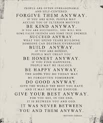 Gift Ideas Mother Teresa Do It Anyway DISTRESSED Worn Look STOCK Art Simple Love Quotes Love Anyway