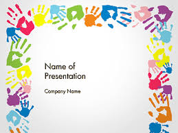 Frame Made Of Colorful Handprints Powerpoint Template