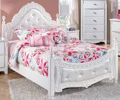 ... Kids Furniture, Ashley Furniture Girl Beds Girls Bedroom Set White  Elegant Bedroom Flowers Motif Pillow ...