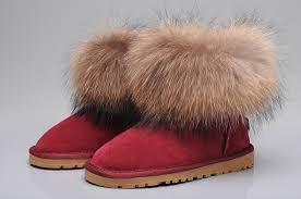 UGG Fox Fur Mini Boots 5854 Wine Red