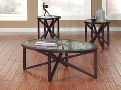 signature design by ashley sleffine 3 piece occasional table set dark brown