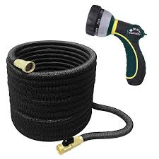 thefitlife best expandable garden hose 25 50 75 100 feet strongest triple core latex and solid brass fittings free spray nozzle 3 4 usa standard easy
