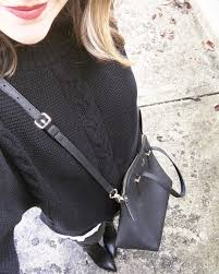 instagram monochromatic black outfit leather leggings kate spade cedar maise