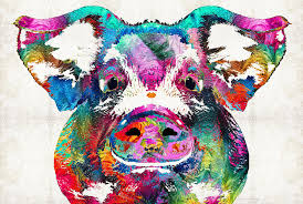 Colorful Pig Art Squeal Appeal By Sharon Cummings Painting By