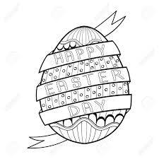 Hand Drawn Artistic Easter Egg For Adult Coloring Page In Doodle