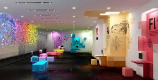 office wall designs. Playful Modern Office Interiors With Colorful Wall Design And Furniture Designs