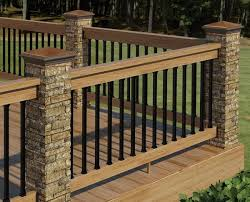 wood deck railing ideas. Stone, Metal And Wood Deck Railing Ideas O