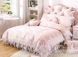 popular lace trim 4 piece cotton duvet cover set