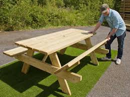 timber picnc bench with foldable bench seats patio