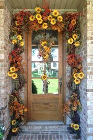 front door decorations for fall sunflowers and leaves fall garland diy fall front door decorations front door decorating ideas for