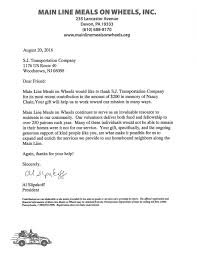 Charity Thank You Letters Sj Transportation