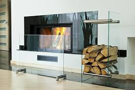 clear glass fireplace screen