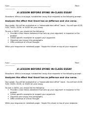 lesson before dying discussion notes a lesson before dying  2 pages lesson before dying in class essay