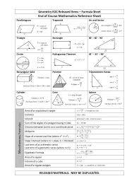 Geometry Eoc Released Items Formula Sheet Released