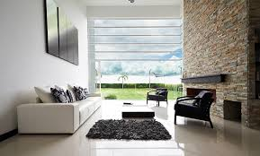 stylish living room furniture. Picture Of White Living Room With Large Brick Wall And Floor-to-ceiling Window Stylish Furniture