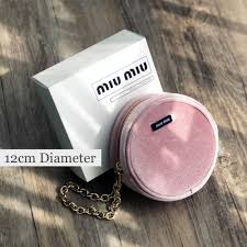 details about miu miu small dusty pink velvet pouch cosmetic makeup bag with chain new in box