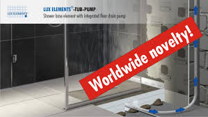 lux elements flush with the floor shower base tub pump with integrated floor drain pump
