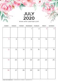 June July 2020 Calendar Free Printable 2020 Floral Calendar