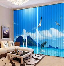 Patterned Curtains Living Room Online Get Cheap Blue Patterned Curtains Aliexpresscom Alibaba