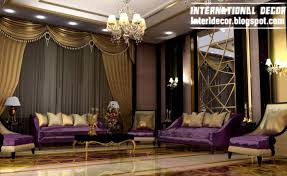 International Living Room Ideas With Luxury Purple Furniture 2013