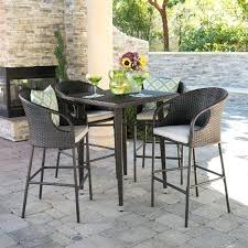 outdoor 5 piece wicker inch square bar set with cushions by partanna table 5 piece outdoor bar table and stools set