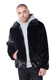 black mink faux fur men s er jacket