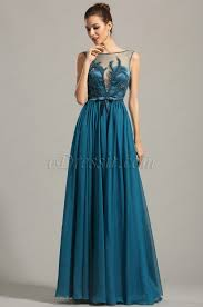 Sleeveless Embroidered Blue Evening Dress Formal Gown 00154605