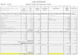 Project Estimate Template Excel El Cost Estimate Template Bud Free Project Construction Cost