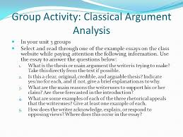 classical argument essay example cover letter cover letter  group activity classical argument analysis in your unit 3 groups select and through one