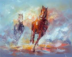 high quality original modern abstract horse oil painting impressionist art no frameless draw
