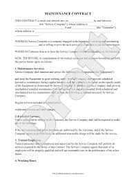 A sample maintenance contract template for you in ms word format. Free Maintenance Contract Free To Print Save Download