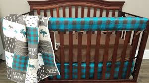 boy crib bedding teal brown and tan little man moose buffalo baby