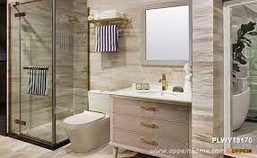 Beige Pvc Bathroom Vanity With Legs Plwy18170 Oppein The Largest Cabinetry Manufacturer In Asia