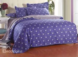black and white polka dot with blue background reversible 4 piece cotton duvet cover sets