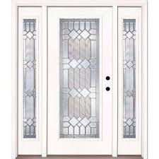 white entry doors with sidelights. 67.5 In.x81.625 In. Mission Pointe Zinc Full Lite Unfinished Smooth Left White Entry Doors With Sidelights T