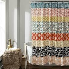 details about bohemian stripe shower curtain turquoise orange anthropologie boho quatrefoil
